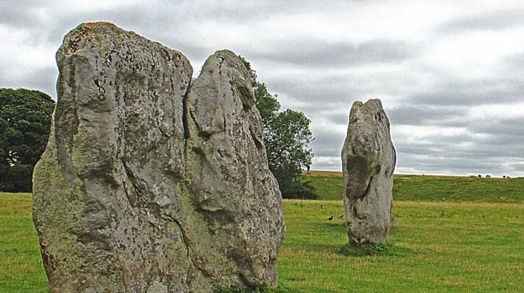 Two of the many ancient standing stones at Avebury, a Wiltshire village cloaked in mystery and legend.